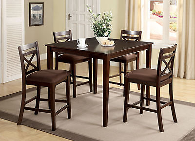 Modern Dining Room 5p Counter Height Dining Set Table Espresso Chairs Microfiber