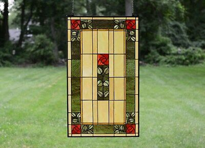 "20"" x 34"" Large Handcrafted stained glass window panel Rose Flower!"