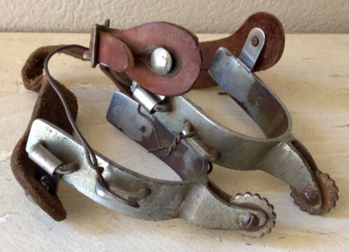 """Cowboy Western Working Spurs with Straps, 1"""" Shanks"""