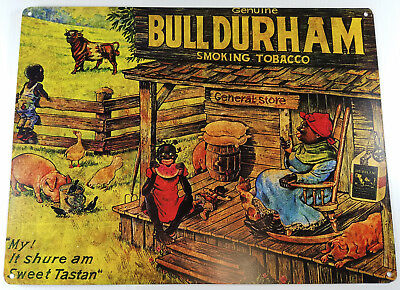 BULL DURHAM LADY SMOKES CORN COB PIPE BLACK AMERICANA HEAVY DUTY METAL ADV SIGN