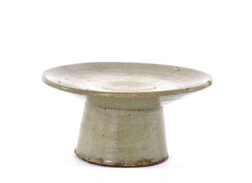 Joseon Dynasty Korean Korea Pottery Crackle Celadon Stem Dish Plate Stand