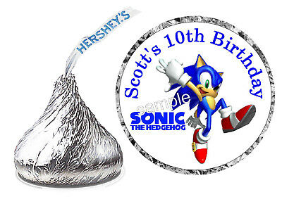 108 SONIC THE HEDGEHOG BIRTHDAY PARTY FAVORS HERSHEY KISS KISSES - Sonic Birthday