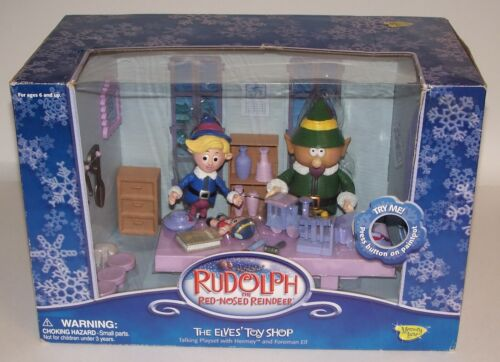Rudolph The Red Nosed Reindeer The Elves Talking Toy Shop Playset NIB
