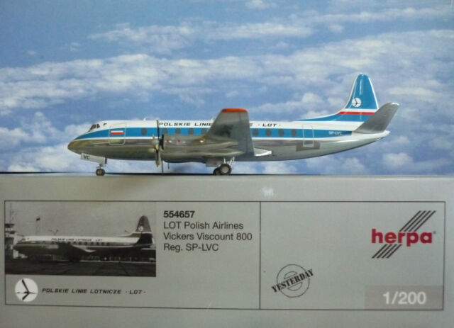Herpa Wings 1:200 Vickers Viscount 800 Lot Polish Airlines SP-LVC  554657