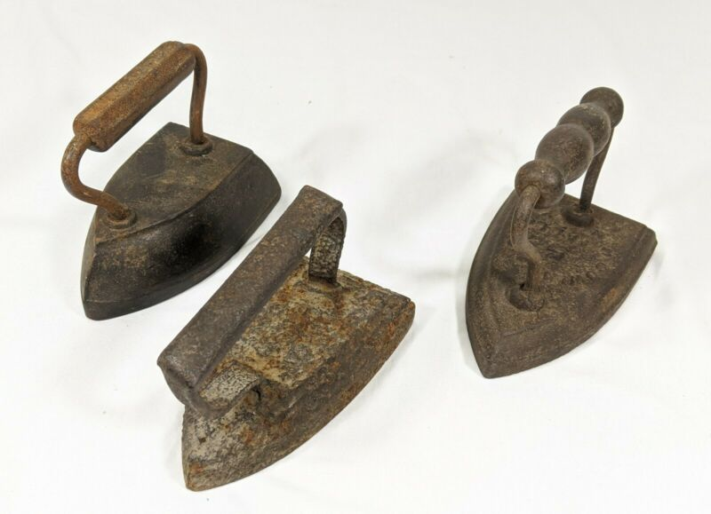 3 Antique Blacksmith Flat Sad Iron - Very Old
