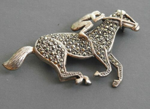 RACE HORSE & JOCKEY silver with  SPARKLING MARCASITES good luck!