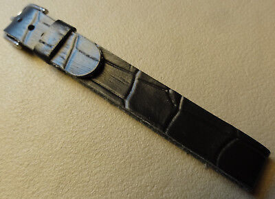 One Piece Black Crocodile Grain Faux Leather 12mm Watch Band Silver Tone Buckle