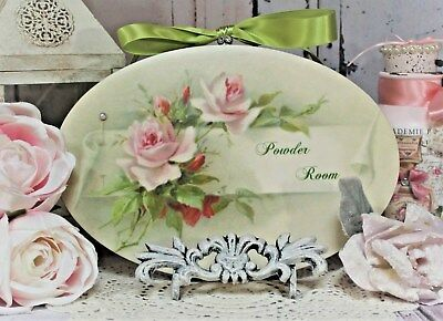 "~ Shabby Chic French Nation Cottage style - Wall Decor Sign ~ ""Powder Room"" ~"