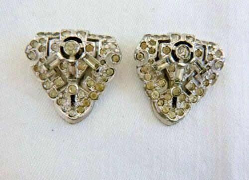 Pair Vintage Art Deco Dress Clips Pins White Rhinestones Numbered  Rhodium Plate