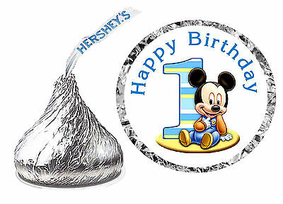 216 BABY MICKEY MOUSE 1ST BIRTHDAY PARTY FAVORS HERSHEY KISS LABELS - Happy - Baby First Bday