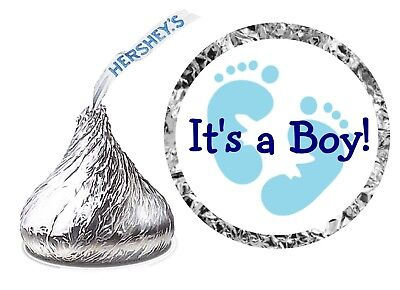 108 ITS A BOY BLUE FOOTPRINTS BABY SHOWER PARTY FAVORS KISS KISSES LABELS