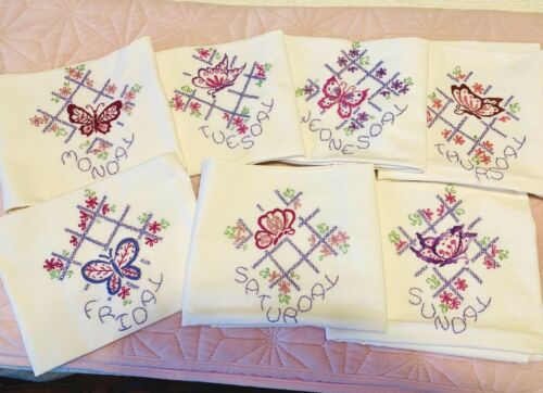 """Days Of The Week Tea Towels 28"""" Sq Hand Embroidered Butterflies NEW Collectible"""