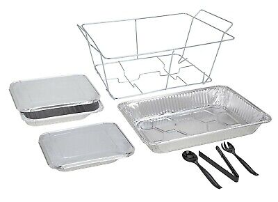Sterno 72 Pc Catering Buffet Serving 9 Sets Water Food Pans Lids Tongs Sporks