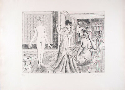 Paul DELVAUX s/n Original Etching La Chambre 1969 - Mira Jacob N°29