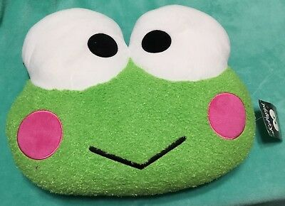 NEW Sanrio Keroppi Fluffy FACE Cushion Pillow Green Frog Die-cut - Pink Fluffy Dice