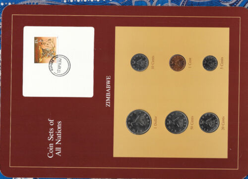 Coin Sets of All Nations Zimbabwe w/card 1980-1988 UNC 20 cents 1987