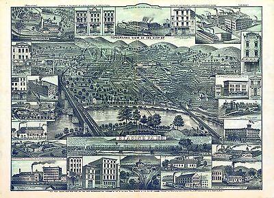 pa161 Antique old map PENNSYLVANIA genealogy family history READING 1881