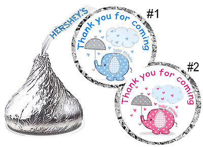 BLUE ELEPHANT OR PINK ELEPHANT BABY SHOWER FAVORS HERSHEY KISS KISSES LABELS - Babyshower Favors