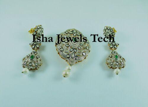 Natural Diamond Polki & Rose Cut Diamond 925 Sterling Silver Pendant Earring Set