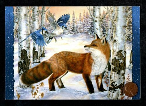 Christmas Red Fox  Blue Birds Snow Trees Forest - Christmas Greeting Card  NEW