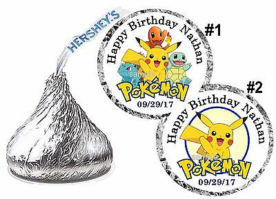108 POKEMON PIKACHU BIRTHDAY PARTY FAVORS HERSHEY KISS KISSES LABELS - Pokemon Birthday Favors
