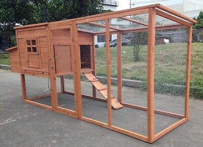 "95"" Wood Hen Chicken Duck poultry Run Hutch House Coop Cage with nesting boxes"
