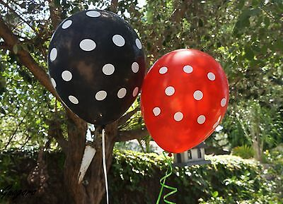 Ladybug Party Supplies (12 Black & Red Polka Dot Latex Balloons LADYBUG MINNIE MICKEY Party Supply)
