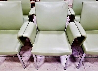 (6) DRAENERT Danish Genuine Leather Reclining Dining Armchairs Sea Foam -