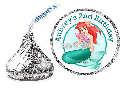The Little Mermaid Party Favors (108 LITTLE MERMAID ARIEL BIRTHDAY PARTY FAVORS HERSHEY KISS KISSES)