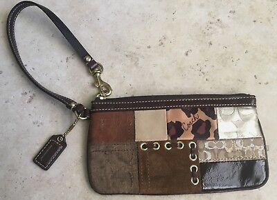 PREOWNED Coach Brown Multi Colored Patchwork Suede Leather Medium Wristlet