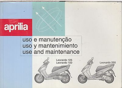 APRILIA LEONARDO 125 , 150 & 250 ORIGINAL 1999 OWNERS INSTRUCTION HANDBOOK