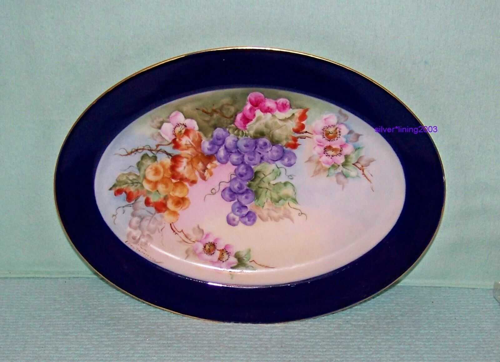 HAND PAINTED ANTIQUE HAVILAND PORCELAIN PLATTER ROSES GRAPE CLUSTERS FRANCE  - $25.00