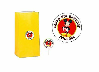 40 Mickey Mouse 2 inch Sticker Party Bag Tag Favor Lollipop Personalized