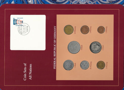 Coin sets of all nations Germany 1970-1992 UNC 10 Pfennig 1970 5 Mark 1980