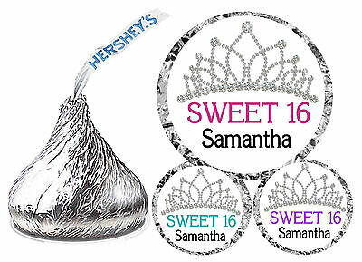 216 SWEET 16 SIXTEEN BIRTHDAY PARTY FAVORS HERSHEY KISS KISSES LABELS CROWN - Sweet Sixteen Favors