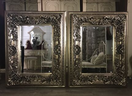 Ornate French Rococo Baroque Style Antique Silver Mirror - Pair Avail