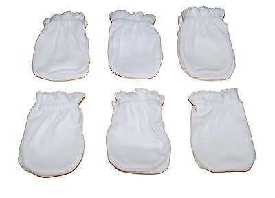 6 Pairs Cotton Newborn Baby/infant anti-scratch Mittens Gloves - White