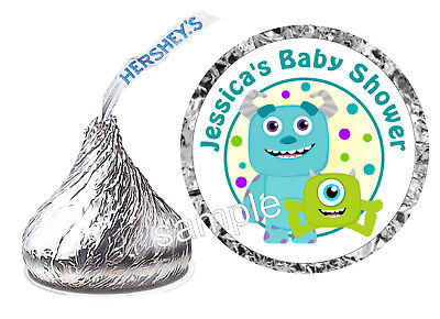 108 MONSTERS INC. BABY SHOWER FAVORS HERSHEY KISS LABELS STICKERS (Monster Baby Shower)
