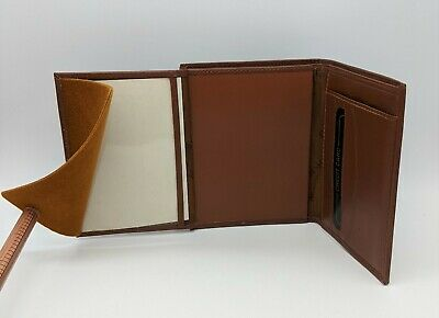 Nos Brown Basket Weave Leather Badge Id Wallet - Police Fire Ems Security