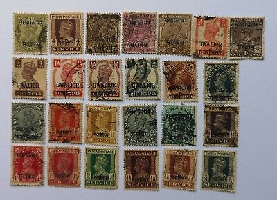 25 Different Gwalior- Indian States Stamp Collection