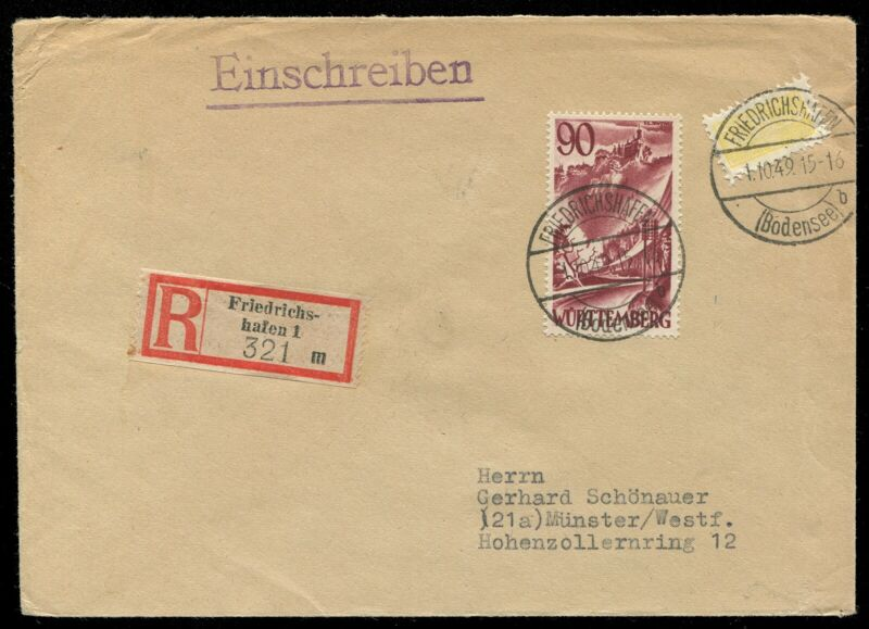 Germany Mi 37 Wurttemberg 1949 Cover
