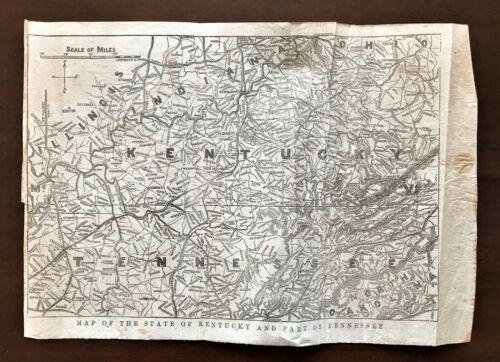 Original 1868 Civil War Vellum Map ~ Kentucky & Tennessee ~ Detailed  Very Rare