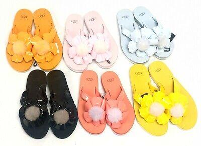 Ugg Australia Poppy Flip Flops Flop Sandals 1090489 Thongs Floral Flower Pom Pom