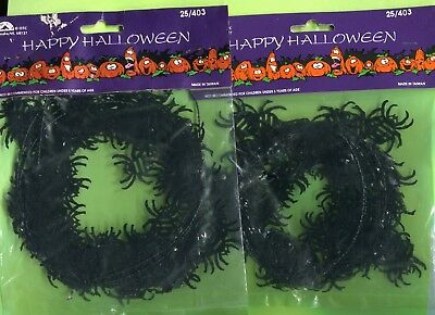 18 ft.SPIDER Halloween Party Decor Autumn Fall Mini Garland Wire 2 Packs 9' Each