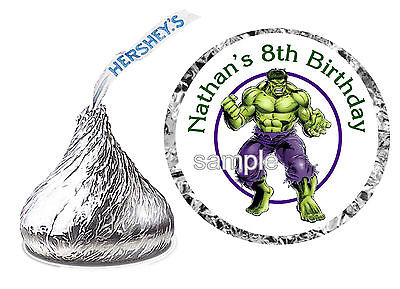 216 INCREDIBLE HULK BIRTHDAY PARTY FAVORS HERSHEY KISS KISSES LABELS - Hulk Party Favors