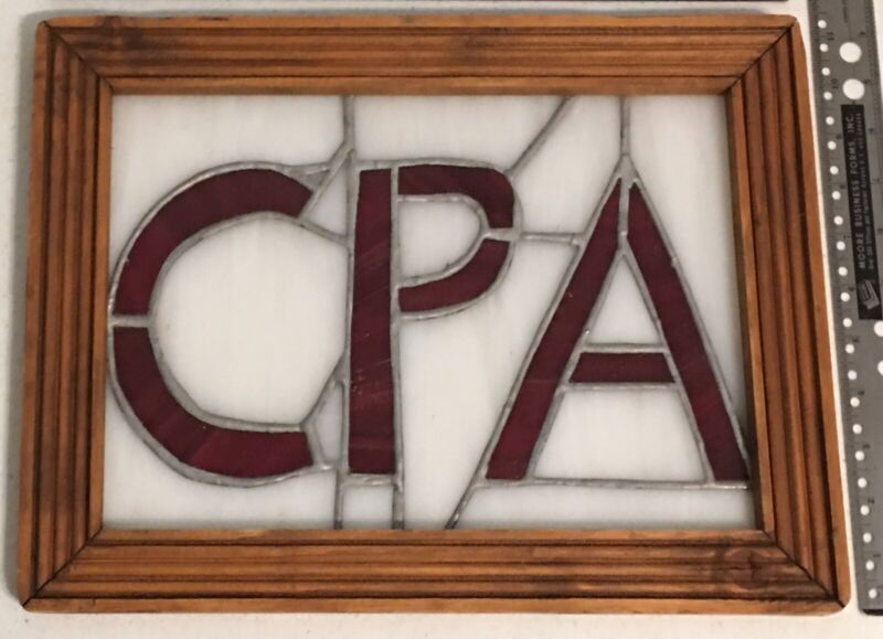 """Vintage Stained Glass Advertising Window Sign CPA Tax Office 14.5 x 11"""""""