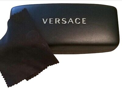VERSACE Sunglasses Glasses Black Hard Shell Case + Cleaning Cloth & Certificate