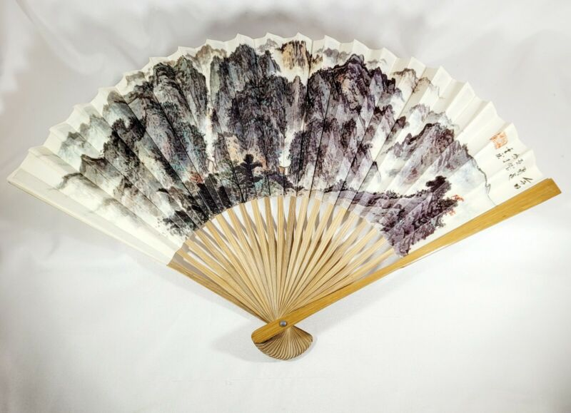 Signed Chinese Bamboo/Paper Hand Painted Decorative Folding Hand Fan/Wall Decor