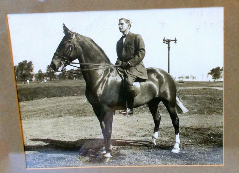 Antique Art PHOTOGRAPH Gentleman on HORSE Equestrian Framed