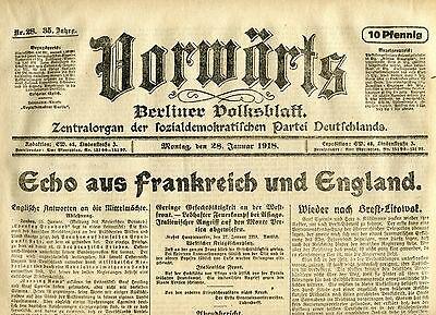 VORWÄRTS (28. Januar 1918): Echo aus Frankreich und England